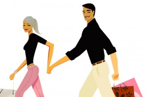 cartoon couple shopping