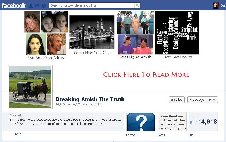Image of Facebook Page for Breaking Amish The Truth