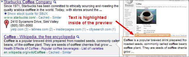 Coffee Search Results in Google Instant Preview 2011