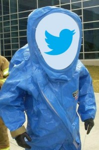 hazmat suit with Twitter logo overlay