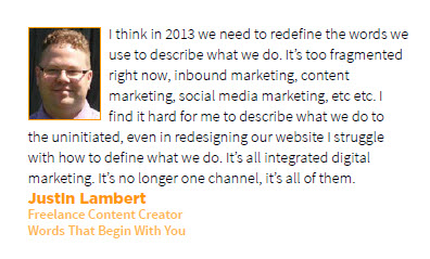 Justin Lambert Prediction for Content Marketing in 2013