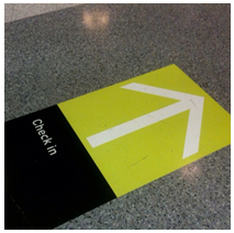 check-in arrow