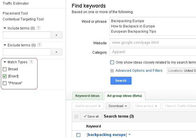 """Exact"" match selected in the Google AdWords Keyword Tool"