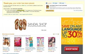 Example of an Amazon.com Thank You Page