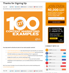 Content Marketing Institute Thank You Page Example