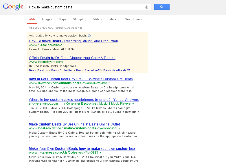 "A Screen Capture of a Google Search for the phrase ""how to make custom beats"""
