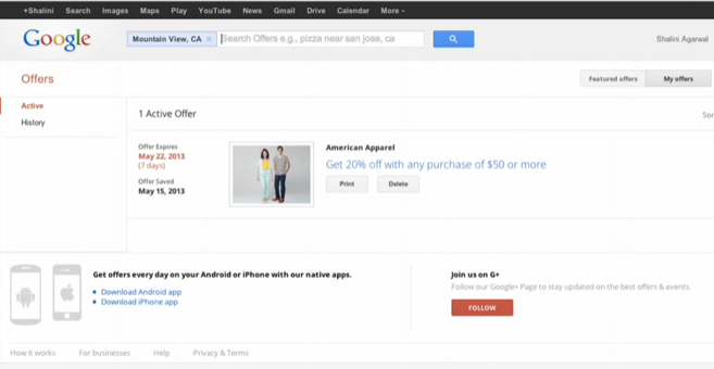 Coupon in Google Goods offer feed: example of email schema final destination
