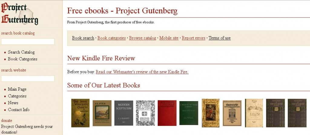 Screenshot of Project Gutenberg