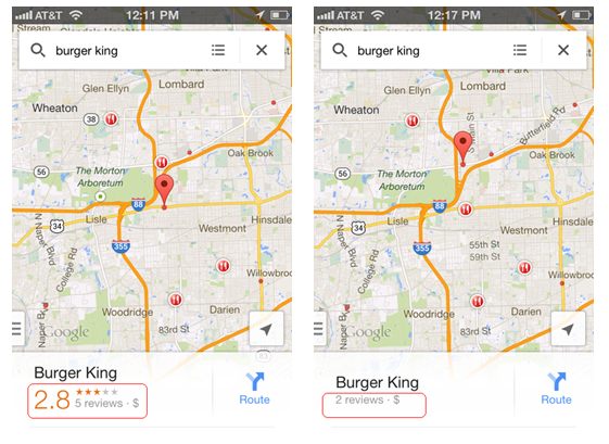 Burger King Ratings and Stars in Google Maps app - red callouts