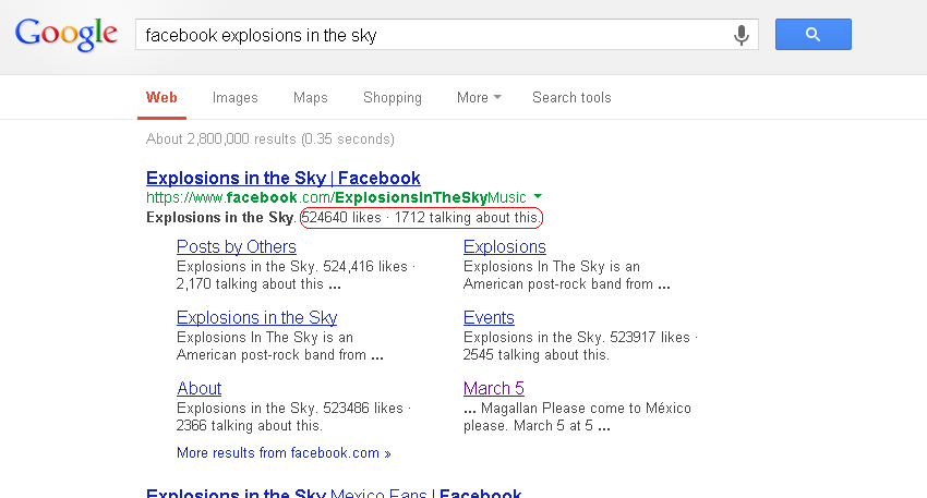 Explosiosn in the sky Google search results with engagement numbers highlighted.