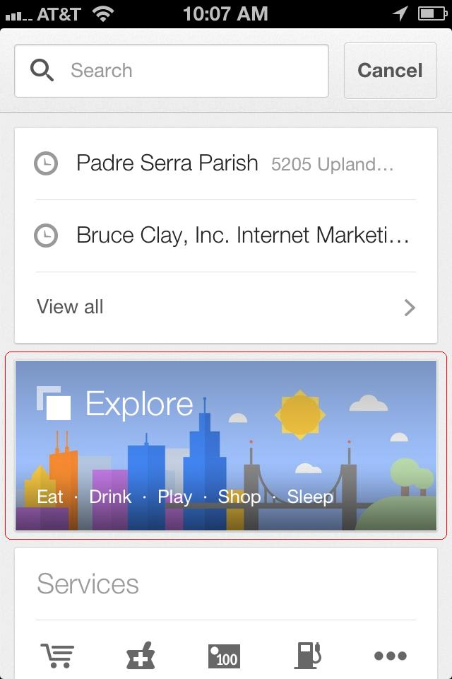 Google Maps app HomeScreen Explore feature - red callout