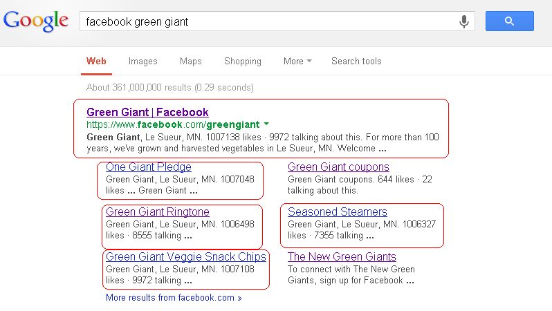 Google search listing showing entry for Green Giant Facebook Page with links highlighted.