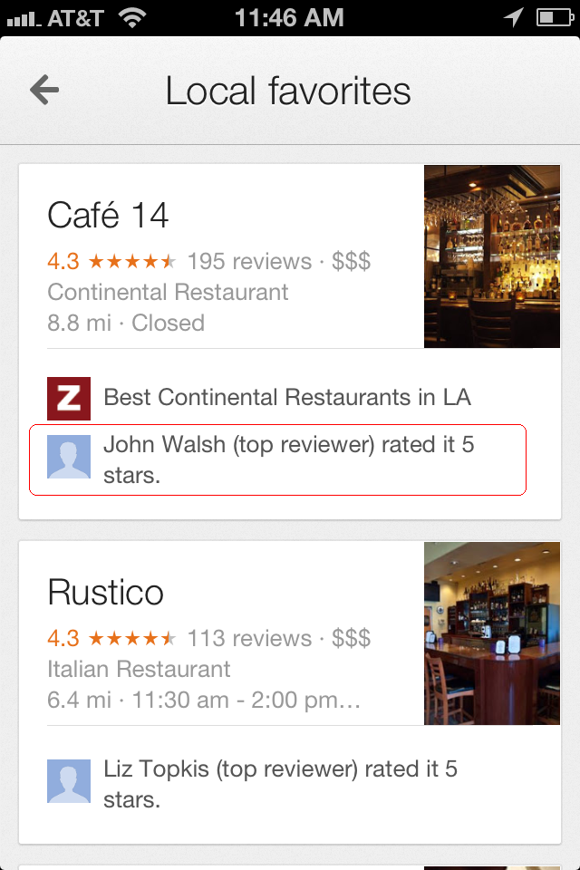 Influencer rating - Google Maps app - red callout