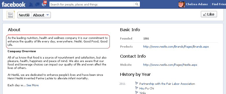 Facebook About section showing the main About information for Nestle highlighted.