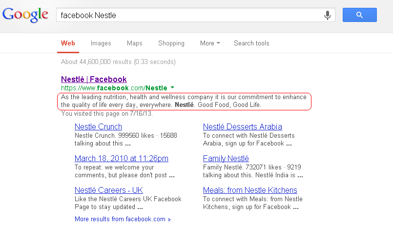 Google search listing showing entry for Nestle Facebook Page.