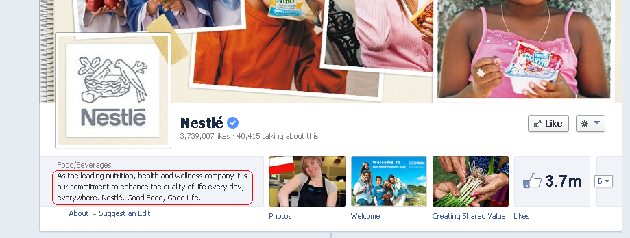 Nestle Facebook Page Short Description called out in red