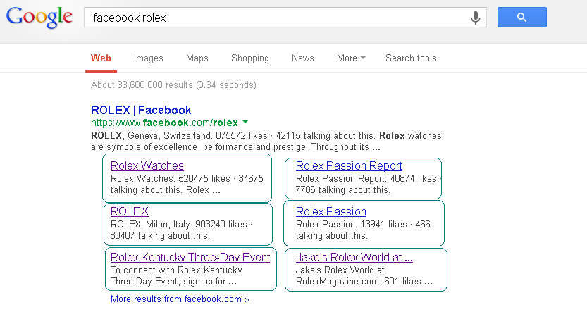 Google search listing showing entry for Rolex watches Facebook Page.