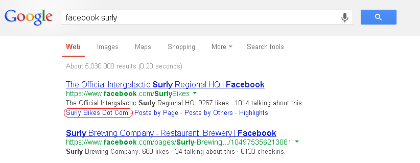 Google search listing showing entry for Surly bicycles Facebook Page.