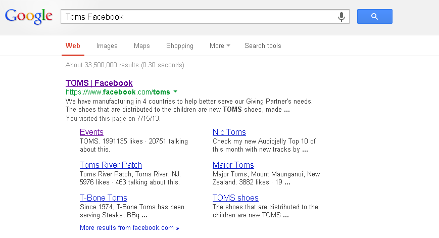 Google search listing showing entry for TOMS shoes.