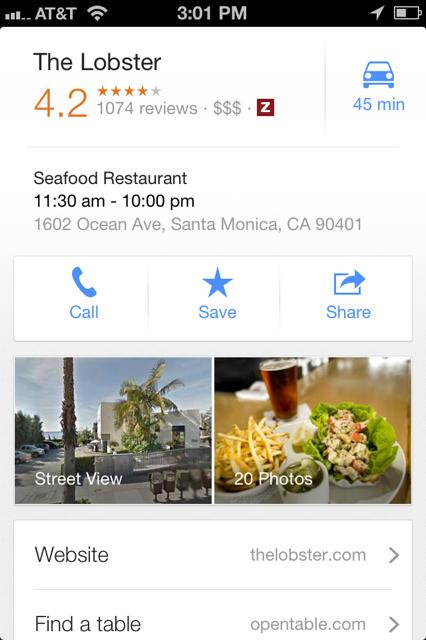 The Lobster Goolgle Maps App Screenshot