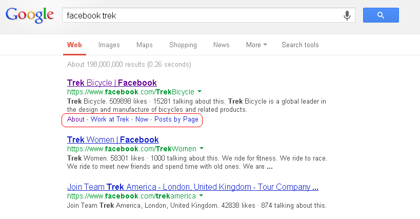Google search listing showing entry for Trek bicycles Facebook Page with links highlighted.