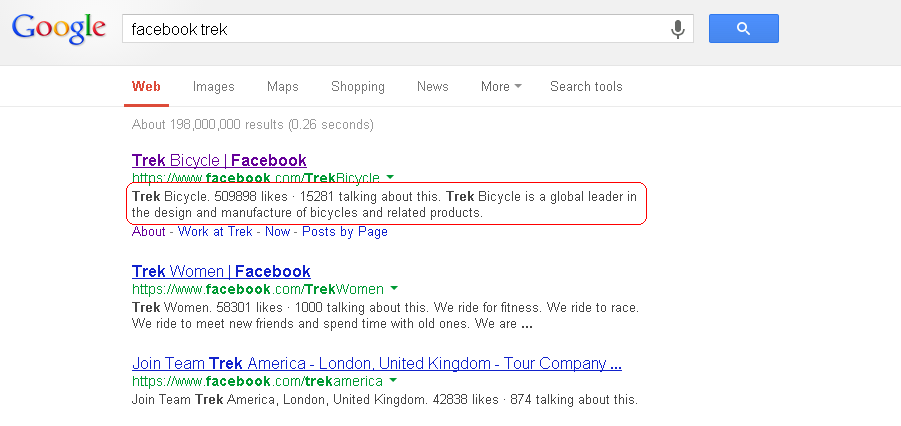Google search listing showing entry for Trek bicycles Facebook Page.