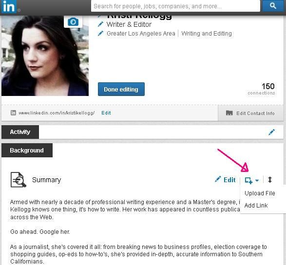 Screenshot of Kristi Kellogg's LinkedIn Page