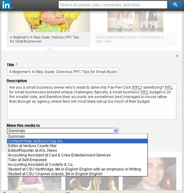 LinkedIn rich media screen shot