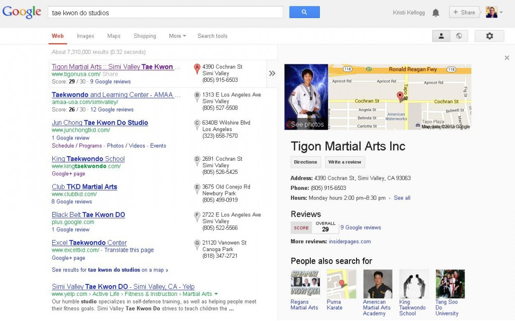 Screenshot of Google Local Business Listings