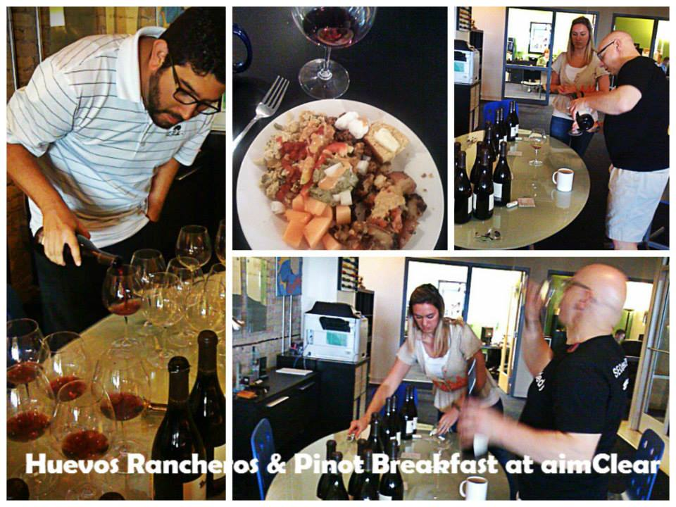 aimClear office breakfast and wine