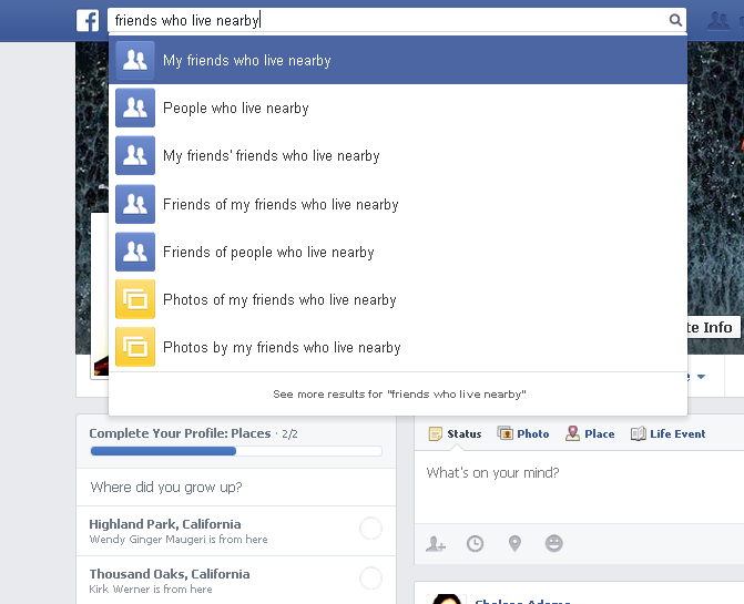 "A Facebook Open Graph search example looking for ""people who live nearby"""