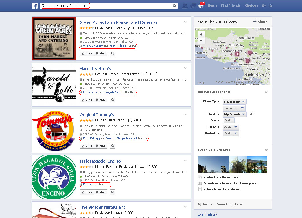 A Facebook Open Graph search example