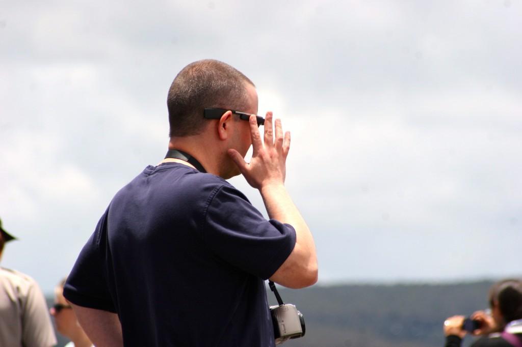 Profile of Matt McGee as he taps his Google Glass.