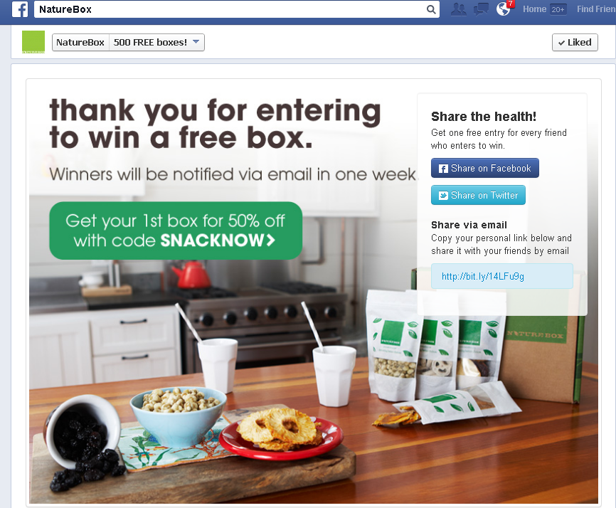 NatureBox Facebook App thank you page example