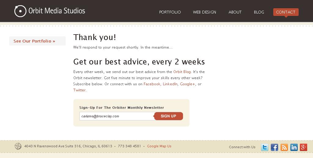 Orbit Media Studios thank you page example
