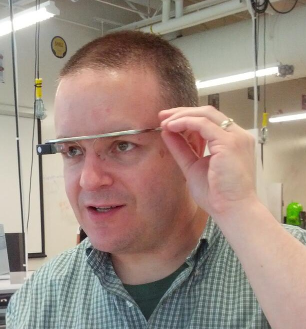 Matt McGee wearing Google Glass.