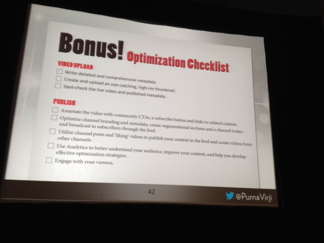 YouTube optimization checklist smx