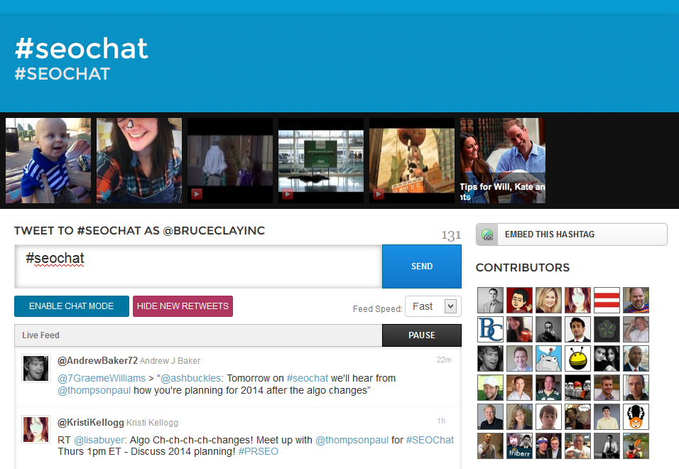 Screen shot of #Seochat on Twubs