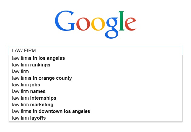 Screen shot of a Google search for Law Firm Website