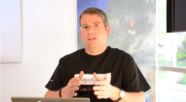 Still shot of Matt Cutts From a recent Webmaster Tools Video