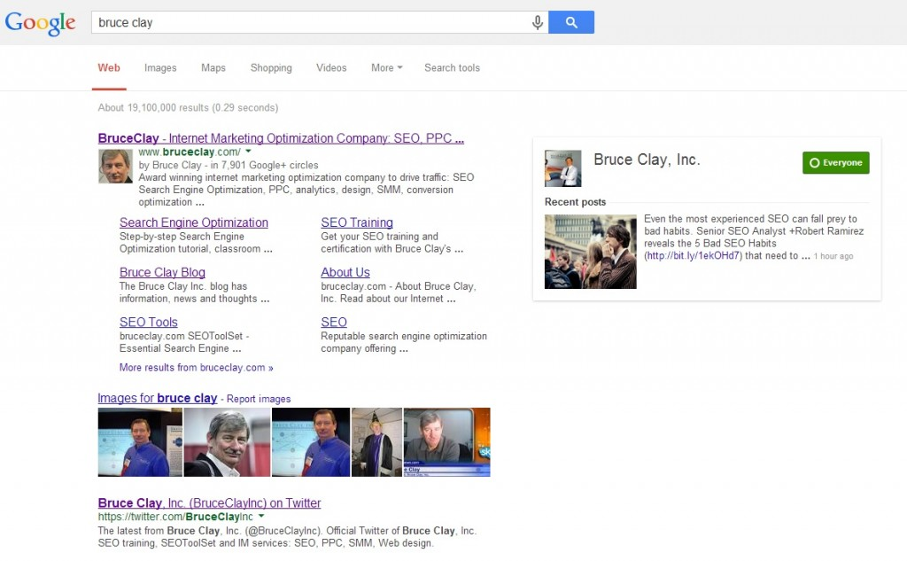 Screenshot of SERP result when searching for Bruce Clay