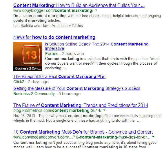 "Screenshot of Google search engine results for the query ""how to do content marketing"""