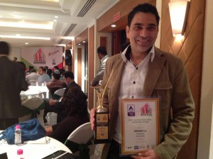 Siddharth Lal poses with his Social Media Professional Award from the CMO Council