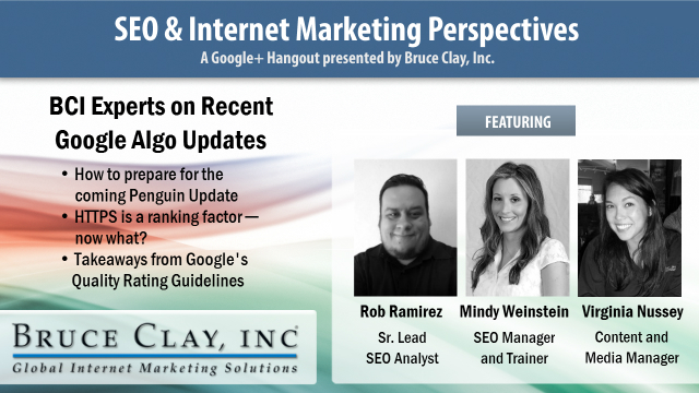 Google Hangout with Bruce Clay, Inc. Experts