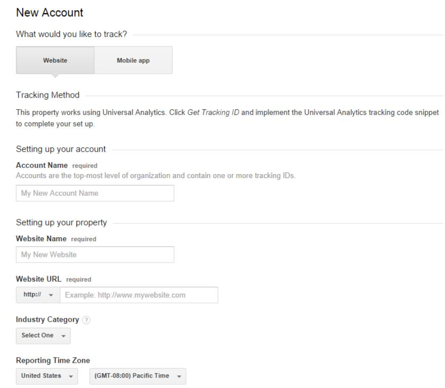 how to set up new Google Analytics account