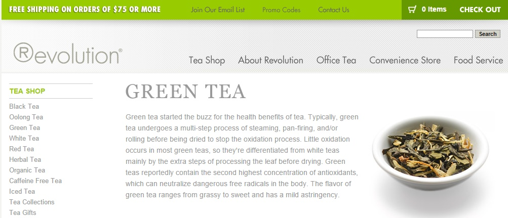 green tea revolution site