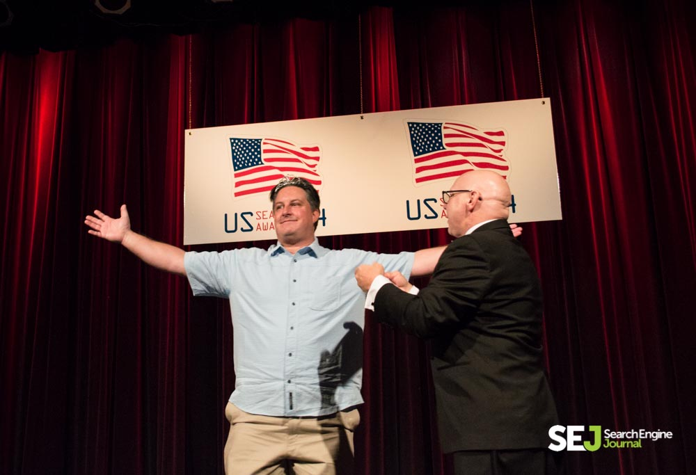 Duane Forrester wins Search Personality of the Year at the 2014 U.S. Search Awards.