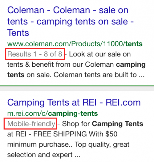 Google mobile results for camping tents