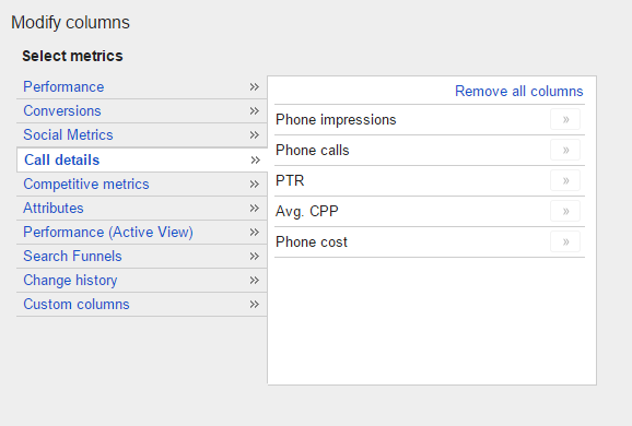 adwords custom column reporting