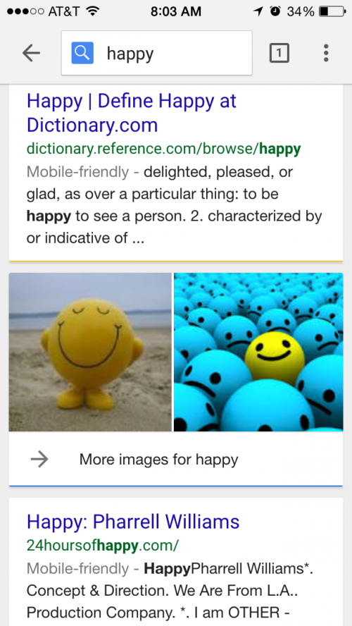 "mobile SERP for ""happy"""